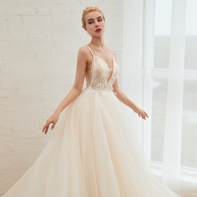 Sexy Sleeveless V Neck Tulle Ball Gown Wedding Dresses with Zipple_18