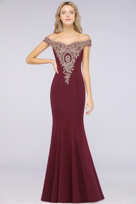 Simple Off-the-shoulder Burgundy Formal Dress with Lace Appliques_30