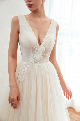 Sexy A Line Sleeveless Tulle Wedding Gowns lace Up_10