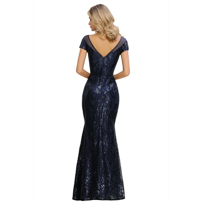 Long Sequined Cap sleeves Scoop neck Formal dress for Prom_14