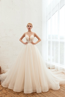 Sexy Sleeveless V Neck Tulle Ball Gown Wedding Dresses with Zipple_1