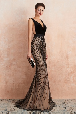 Sexy Pluging V-neck Black Complicated Style Evening Dress_9