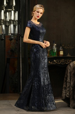 Long Sequined Cap sleeves Scoop neck Formal dress for Prom_9