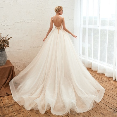 Sexy Sleeveless V Neck Tulle Ball Gown Wedding Dresses with Zipple_20