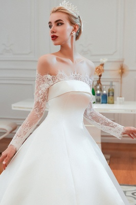 A line Off the Shoulder Lace Up Long Sleeves Wedding Dresses_19