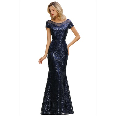 Long Sequined Cap sleeves Scoop neck Formal dress for Prom_12
