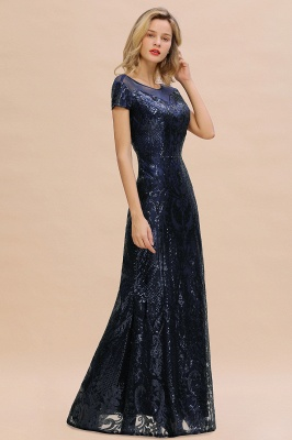 Long Sequined Cap sleeves Scoop neck Formal dress for Prom_11