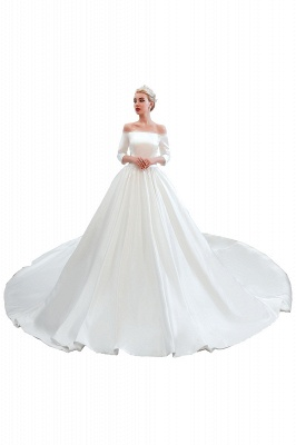 A line Off the Shoulder Half Sleeves Satin Wedding Dresses Lace Up_12