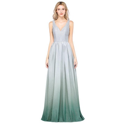 A-line Ruffles V-Neck Long Evening Dress On Sale_2