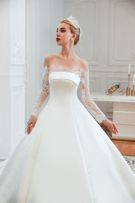 A line Off the Shoulder Lace Up Long Sleeves Wedding Dresses_17