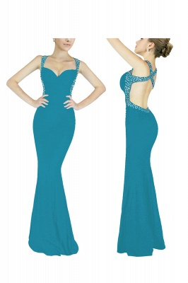 Criss-cross Back Mermaid Prom Dress with Beaded Straps_12