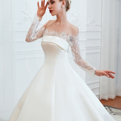 A line Off the Shoulder Lace Up Long Sleeves Wedding Dresses_13