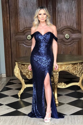 Sparkly Long Off the Shoulder Mermaid Sequined Evening Dresses_3