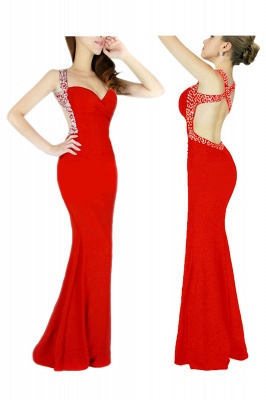 Criss-cross Back Mermaid Prom Dress with Beaded Straps_1