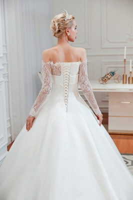 A line Off the Shoulder Lace Up Long Sleeves Wedding Dresses_23
