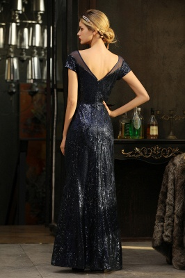 Long Sequined Cap sleeves Scoop neck Formal dress for Prom_16
