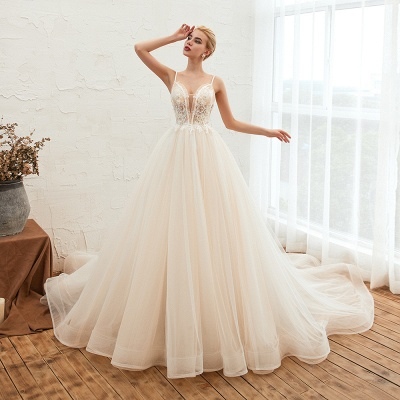 Sexy Sleeveless V Neck Tulle Ball Gown Wedding Dresses with Zipple_13