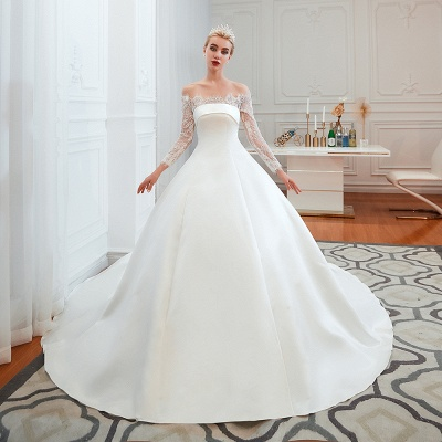 A line Off the Shoulder Lace Up Long Sleeves Wedding Dresses_3