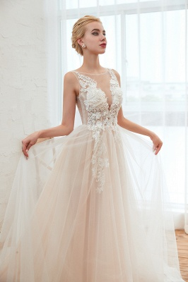 Sexy Sheath Sleeveless Tulle Lace Bridal Gowns lace Up_18