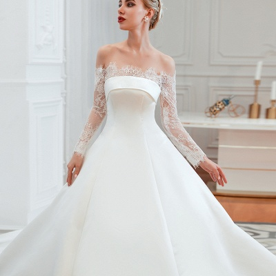 A line Off the Shoulder Lace Up Long Sleeves Wedding Dresses_12