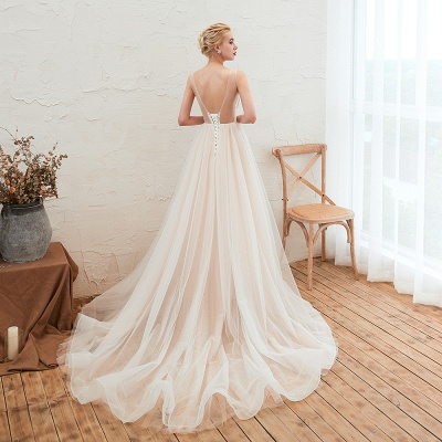 Sexy Sheath Sleeveless Tulle Lace Bridal Gowns lace Up_13