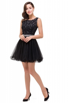 ABBY | A-line Knee-length Tulle Prom Dress with Appliques&Crystal_5