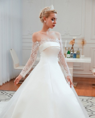 A line Off the Shoulder Lace Up Long Sleeves Wedding Dresses_21