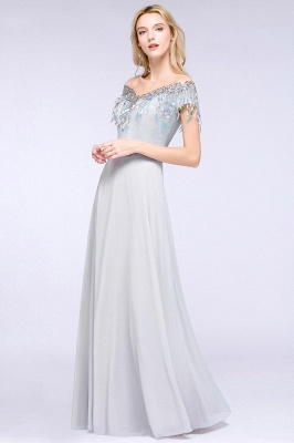 A-line Jewel Short Sleeves Sequins Evening Dress with Tassels On Sale_10