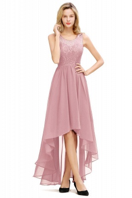 Simple Affordable Sleeveless Burgundy Lace High Low Formal Dress_2
