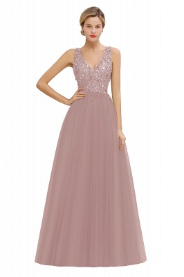 Abina | Sexy V-neck Sparkly Beaded Low Back Prom Dress with Gemstones_1