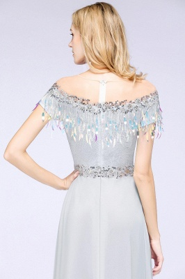 A-line Jewel Short Sleeves Sequins Evening Dress with Tassels On Sale_13