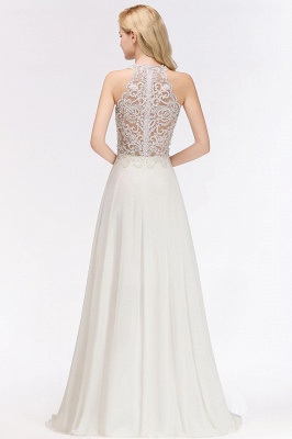 A-line Pink Pears Beaded Halter Bridesmaid Dresses_14
