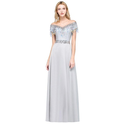 A-line Jewel Short Sleeves Sequins Evening Dress with Tassels On Sale_8