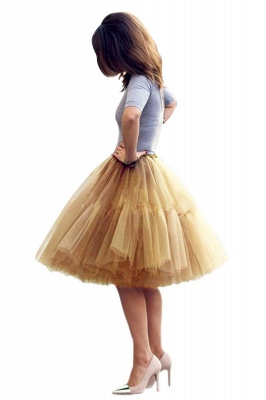 Puffy Knee-length Carnival Peticoat in Burgundy, White, Yellow, Gray, Pink, Mint Green_49