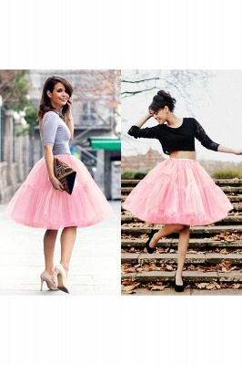Puffy Knee-length Carnival Peticoat in Burgundy, White, Yellow, Gray, Pink, Mint Green_36