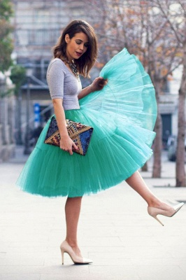 Puffy Knee-length Carnival Peticoat in Burgundy, White, Yellow, Gray, Pink, Mint Green_59