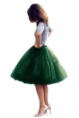 Puffy Knee-length Carnival Peticoat in Burgundy, White, Yellow, Gray, Pink, Mint Green_60