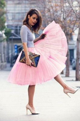 Puffy Knee-length Carnival Peticoat in Burgundy, White, Yellow, Gray, Pink, Mint Green_38