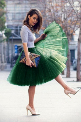 Puffy Knee-length Carnival Peticoat in Burgundy, White, Yellow, Gray, Pink, Mint Green_61