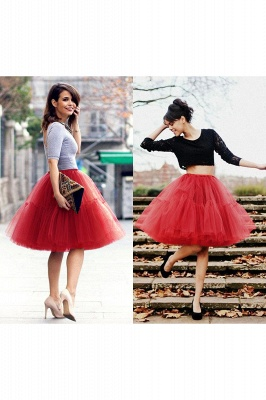Puffy Knee-length Carnival Peticoat in Burgundy, White, Yellow, Gray, Pink, Mint Green_35