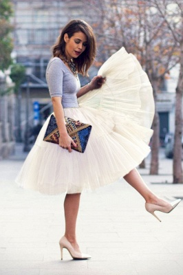 Puffy Knee-length Carnival Peticoat in Burgundy, White, Yellow, Gray, Pink, Mint Green_63