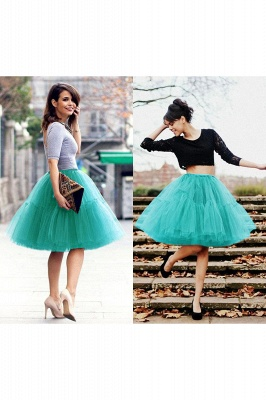 Puffy Knee-length Carnival Peticoat in Burgundy, White, Yellow, Gray, Pink, Mint Green_58