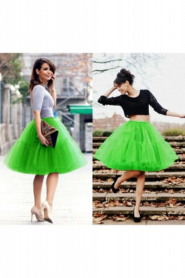 Puffy Knee-length Carnival Peticoat in Burgundy, White, Yellow, Gray, Pink, Mint Green_51