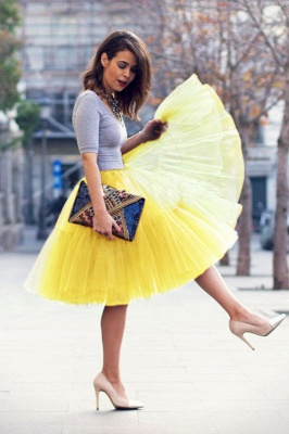 Puffy Knee-length Carnival Peticoat in Burgundy, White, Yellow, Gray, Pink, Mint Green_42