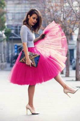 Puffy Knee-length Carnival Peticoat in Burgundy, White, Yellow, Gray, Pink, Mint Green_56