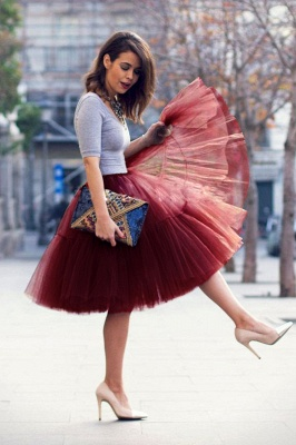 Puffy Knee-length Carnival Peticoat in Burgundy, White, Yellow, Gray, Pink, Mint Green_47
