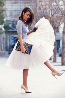Puffy Knee-length Carnival Peticoat in Burgundy, White, Yellow, Gray, Pink, Mint Green_22