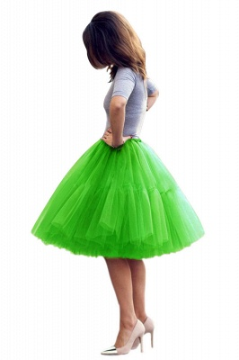 Puffy Knee-length Carnival Peticoat in Burgundy, White, Yellow, Gray, Pink, Mint Green_53