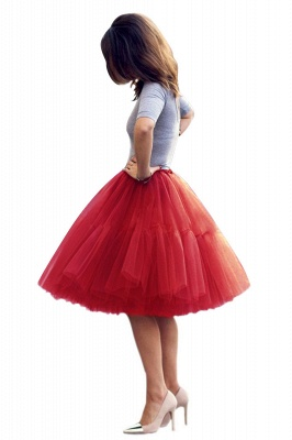 Puffy Knee-length Carnival Peticoat in Burgundy, White, Yellow, Gray, Pink, Mint Green_33