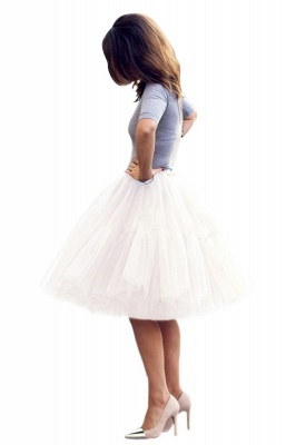 Puffy Knee-length Carnival Peticoat in Burgundy, White, Yellow, Gray, Pink, Mint Green_21